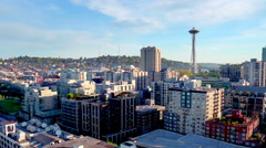 Aerial view of Seattle space needle 2 Stock Footage
