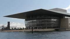 Copenhagen Opera House seen from sea (boat moving) Stock Footage