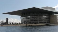 Copenhagen Opera House seen from sea (boat moving) Stock Footage
