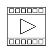 film strip with play icon - stock illustration