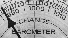 Change in the Weather Barometer Macro Detail with Zoom Stock Footage