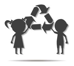 children and recycling double shadow icon vector - stock illustration
