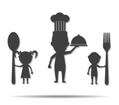 Family eating double shadow icon vector Stock Illustration