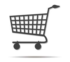 Shopping cart double shadow icon vector Stock Illustration