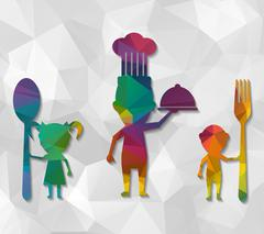 Family eating low poly Stock Illustration