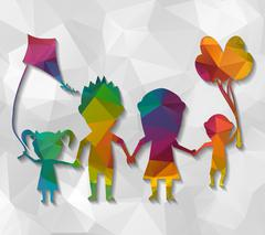 Family playing dolls low poly Stock Illustration