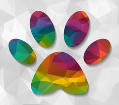 footprint low poly - stock illustration