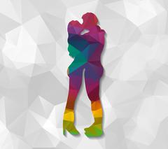 Kissing couple low poly Stock Illustration