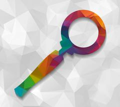 magnifying glass low poly - stock illustration