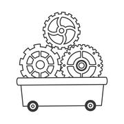 Gears in wagon icon Stock Illustration