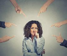 Social accusation guilty business woman fingers pointing Stock Photos