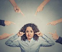 Concept of accusation of guilty businesswoman - stock photo