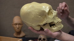 Anthropology. Skull and Reconstructed Image of a Woman-Sarmatian Nomads Age of Stock Footage
