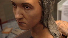 Archeology. Skull and Reconstructed Image of a Woman-Sarmatian Nomads Age of - stock footage