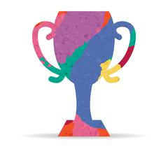 Cup champion drawn painted icon vector Stock Illustration