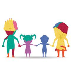 Dolls family drawn painted icon vector Stock Illustration