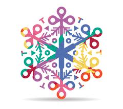 Decoration snowflake drawn painted icon vector Stock Illustration