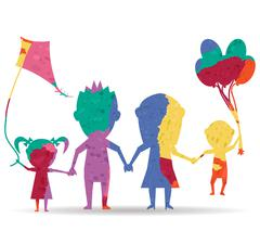 Family playing dolls drawn painted icon vector Stock Illustration