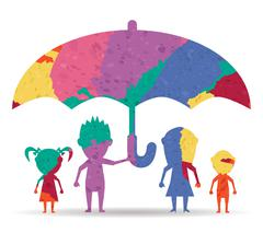 Dolls family protected drawn painted icon vector Stock Illustration