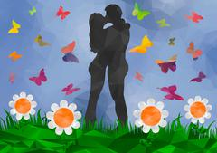 Low poly background couple kissing Stock Illustration