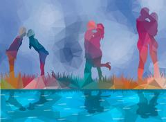 low poly background couples kissing - stock illustration