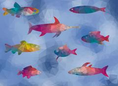 low poly bottom fish in the sea - stock illustration