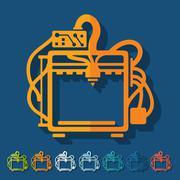 Flat design: 3D printer Stock Illustration