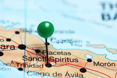 Sancti Spiritus pinned on a map of Cuba - stock photo