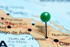 Florida pinned on a map of Cuba - stock photo