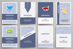 Corporate identity vector templates set with doodles Barcelona theme - stock illustration