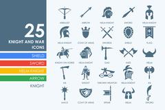 Set of knight and war icons - stock illustration