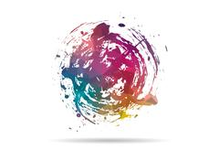 Low poly icon colorful ink stain Stock Illustration