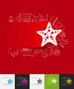 starfish paper sticker with hand drawn elements - stock illustration
