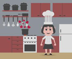 Cheap chef cooking Stock Illustration