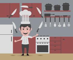 chef juggling knives - stock illustration