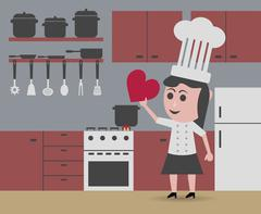 Chef woman cooking with love Stock Illustration