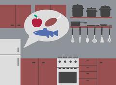 Kitchen with refrigerator smart Stock Illustration
