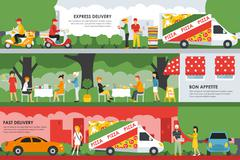 Fast, Express Delivery and Bon Appetite flat concept web vector illustration Stock Illustration