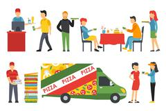 People in a Pizzeria interior flat icons set. Pizza concept web vector Stock Illustration