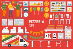 Big detailed Pizzeria Interior flat icons set. Menu, Refrigerator, Waiter Stock Illustration