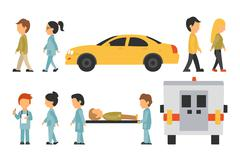 Medical Staff Flat, Isolated On White Background, Doctor, Nurse, Care, People Stock Illustration