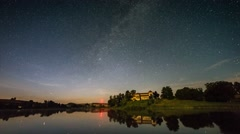 Night startrail with castle and lake Stock Footage