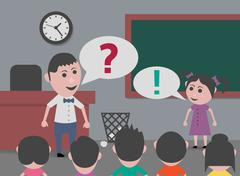 Teacher asking and answering girl Stock Illustration