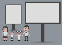Doll happy family, billboard and marquee Stock Illustration