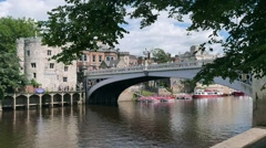 Time-lapse view of Lendal Bridge in York Stock Footage