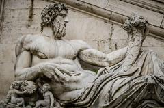 Ancient Roman allegory of Tiber River. Campidoglio, Rome, Italy.. Stock Photos