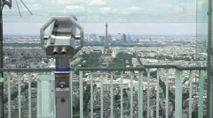 Panoramic Observation Of Paris At Famous Montparnasse Tower Stock Footage