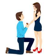 Engagement Proposal Surprise Stock Illustration