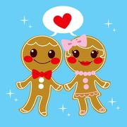 Gingerbread Couple Stock Illustration
