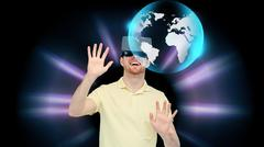 happy man in virtual reality headset or 3d glasses - stock photo